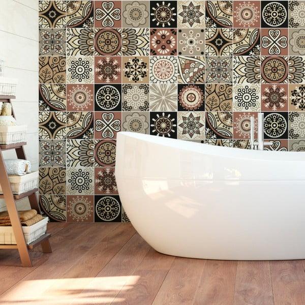 Sada 24 nástěnných samolepek Ambiance Wall Stickers Tiles Piura, 15 x 15 cm