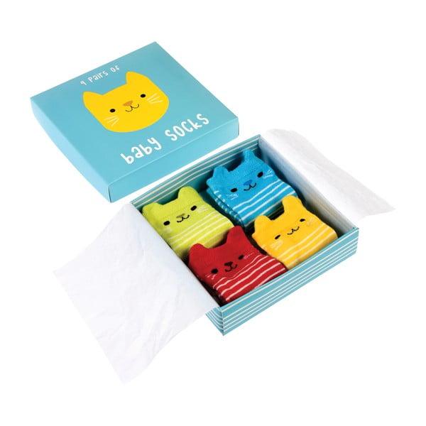 Set 4 perechi șosete pentru nou-născuți cu model cu pisici Rex London