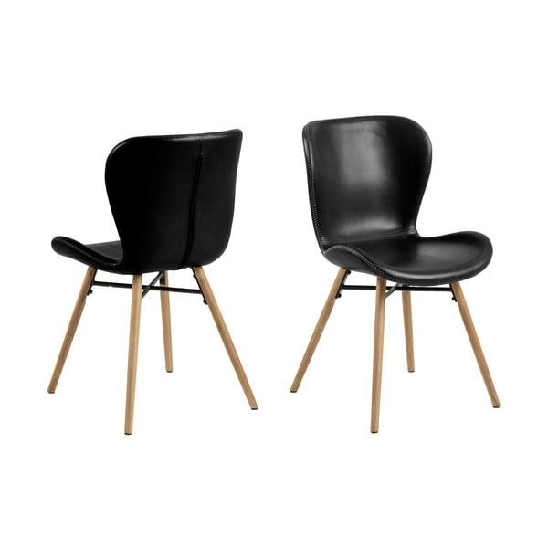 Čierna jedálenská stolička s podnožím z dubového dreva Actona Batilda