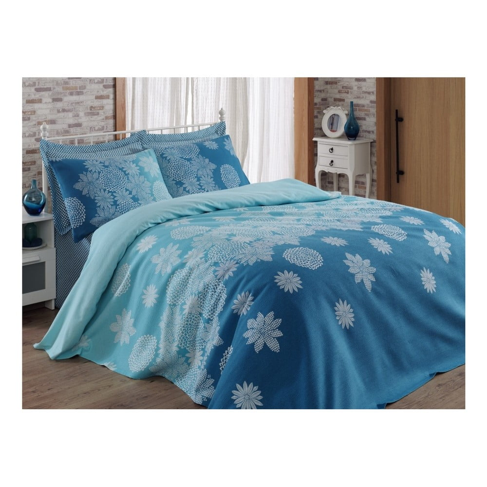 Modrý přehoz přes postel Adla, 200 x 235 cm