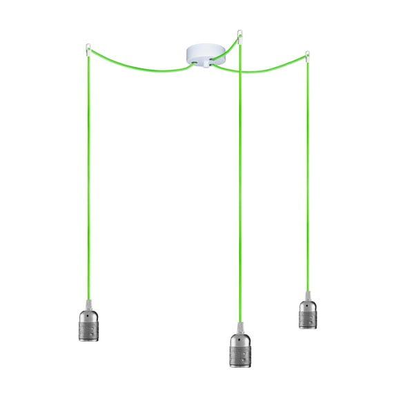 Tři závěsné kabely Uno, stříbrná/zelená/bílá