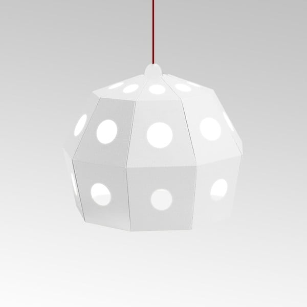 Kartonové svítidlo Uno Fantasia B White, s červeným kabelem
