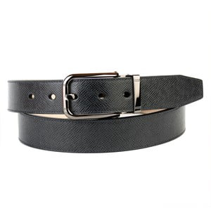 Pánský kožený pásek 3PY10 Black, 90 cm
