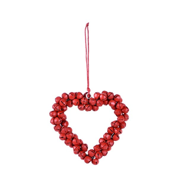 Bells piros fém csengettyűkből álló felfüggeszthető szív, magassága 8,5 cm - Ego Dekor