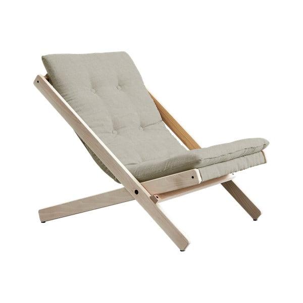Szary fotel rozkładany z drewna bukowego Karup Design Boogie Light Grey, 60x115 cm