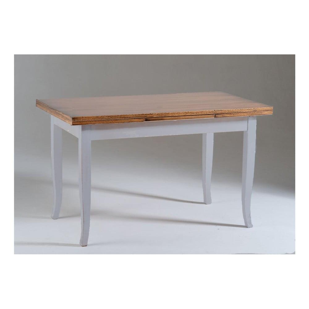 Šedý dřevěný rozkládací jídelní stůl s deskou v dekoru ořechového dřeva Castagnetti Justine, 120x80cm