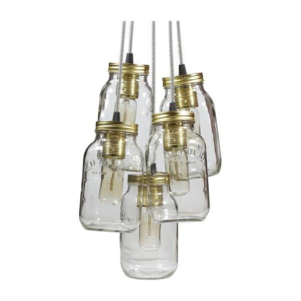Závěsné světlo JamJar Lights, pět černobílých kabelů