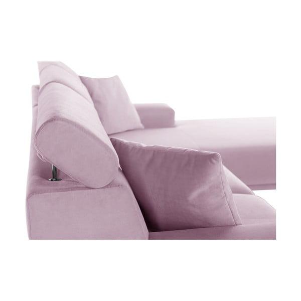 Pastelově růžová rohová pohovka s lenoškou na pravé straně L'Officiel Georgia
