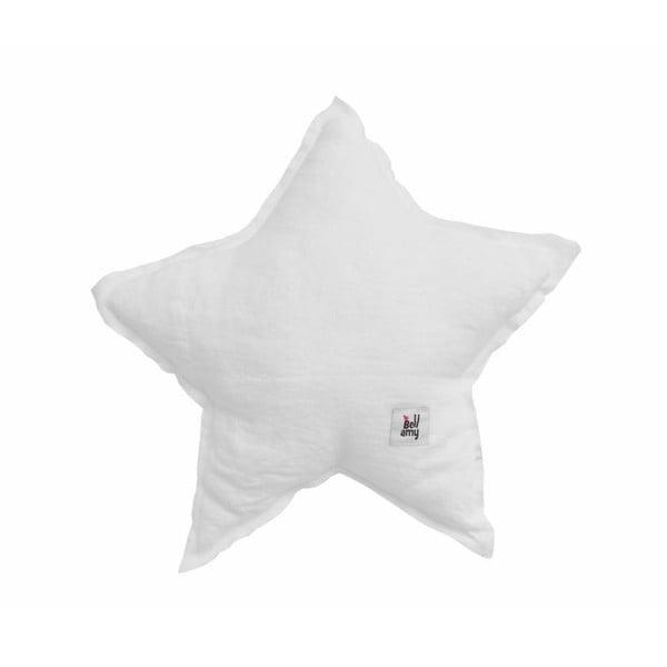 Biała lniana poduszka dziecięca w kształcie gwiazdki BELLAMY Snow White