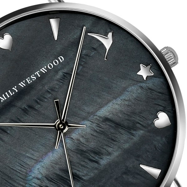 Dámské hodinky s černým páskem z nerezové oceli Emily Westwood Rugnara