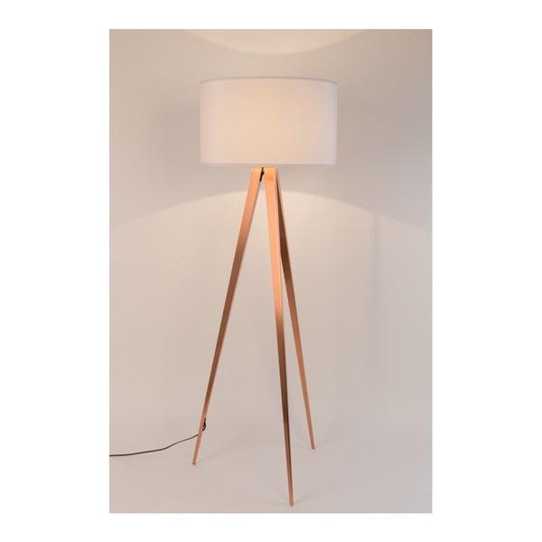 Bílá stojací lampa s nohami v měděné barvě Zuiver Tripod