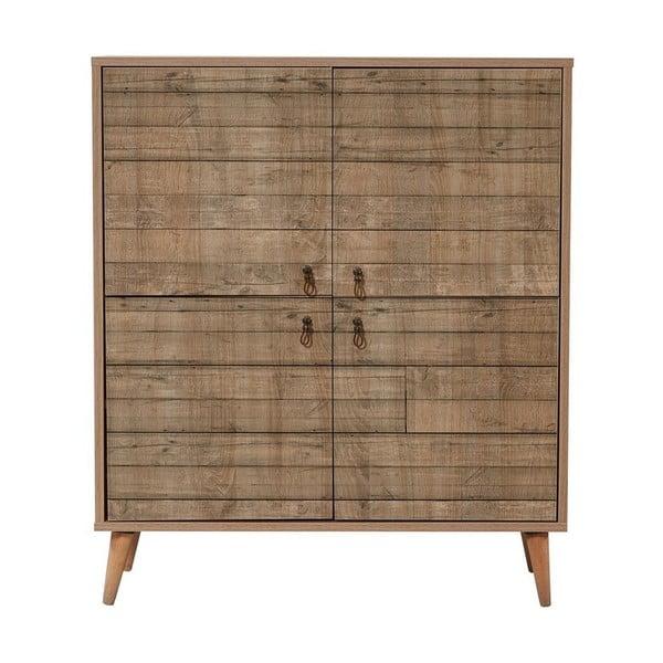 Dřevěná skříň Ananias Stripes, výška 111cm