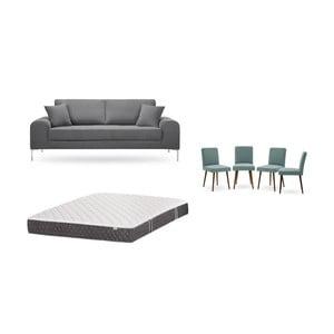 Set třímístné šedé pohovky, 4šedozelených židlí a matrace 160 x 200 cm Home Essentials