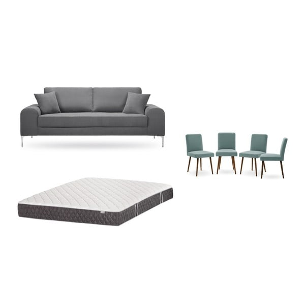 Set canapea gri închis cu 3 locuri, 4 scaune gri-verde, o saltea 160 x 200 cm Home Essentials