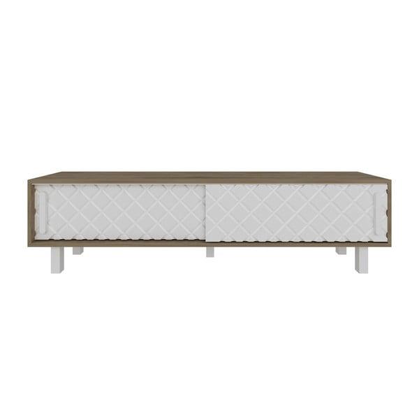 TV stolek v dekoru dubového dřeva s bílými detaily Rob White