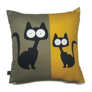 Polštář Žlutošedé kočky, 40x40 cm