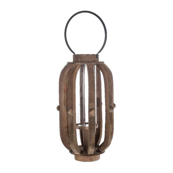 Dřevěná lucerna Brown, 30x49 cm