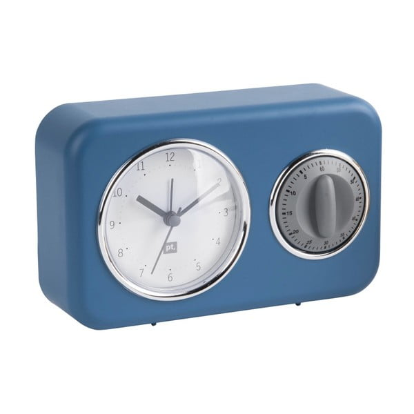 Nostalgia kék asztali óra konyhai időmérővel - PT LIVING
