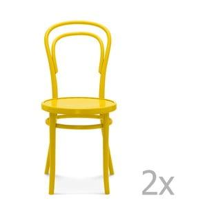 Sada 2 žlutých dřevěných židlí Fameg Jesper