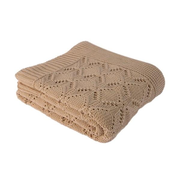Světle béžová bavlněná deka Homemania Cotton,170x130cm