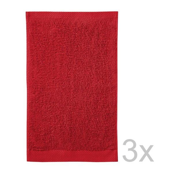 Set 3 ručníků Pure Red, 30x50 cm