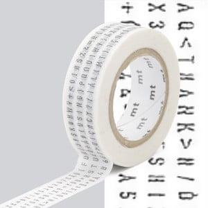 Bandă washi MT Masking Tape Lettres, negru - alb