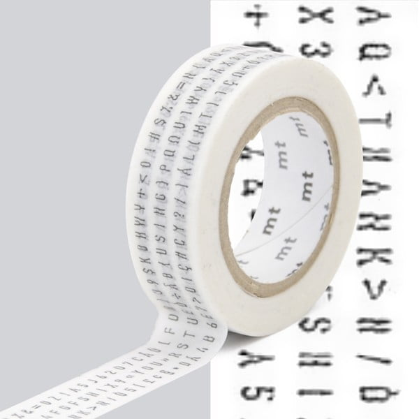 Czarno-biała taśma dekoracyjna washi MT Masking Tape Lettres