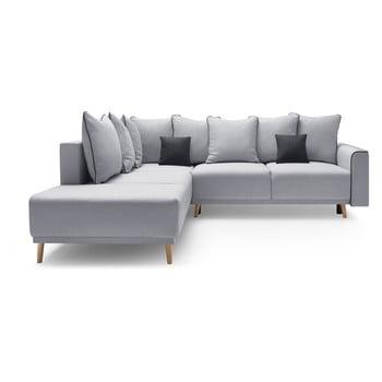 Canapea extensibilă cu șezlong pe partea stângă Bobochic Molla gri
