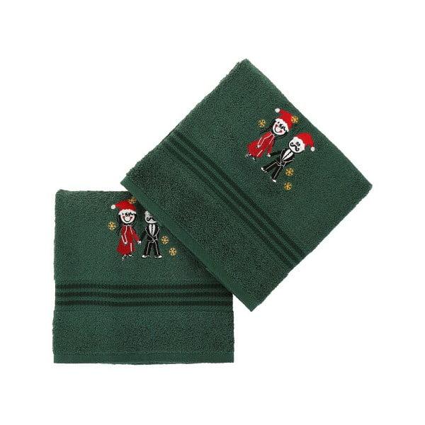 Sada 2 zelených vianočných uterákov Winter Love, 70x140 cm