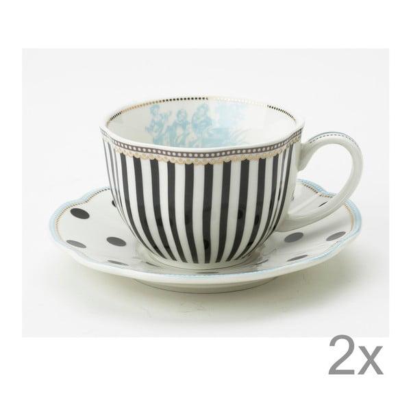 Porcelánový šálek s podšálkem Toile od Lisbeth Dahl, 2 ks