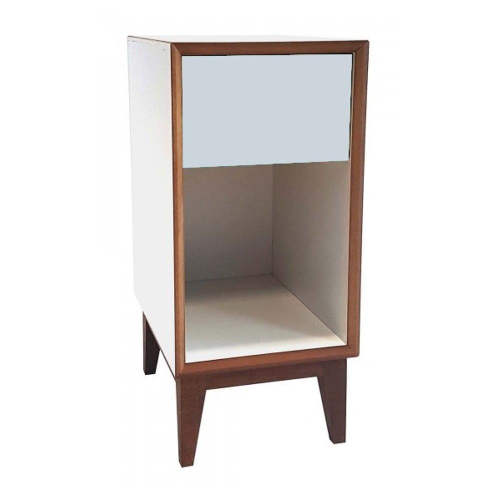 Produktové foto Malý noční stolek s bílým rámem a světle šedou zásuvkou Ragaba PIX