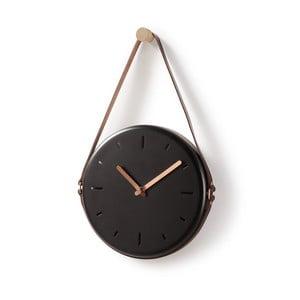 Černé nástěnné hodiny La Forma Wolly