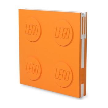 Jurnal pătrat cu pix cu gel LEGO®, 15,9 x 15,9 cm, portocaliu imagine