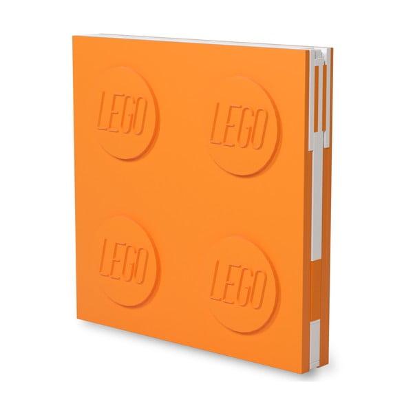 Oranžový štvorcový zápisník s gélovým perom LEGO®, 15,9 x 15,9 cm