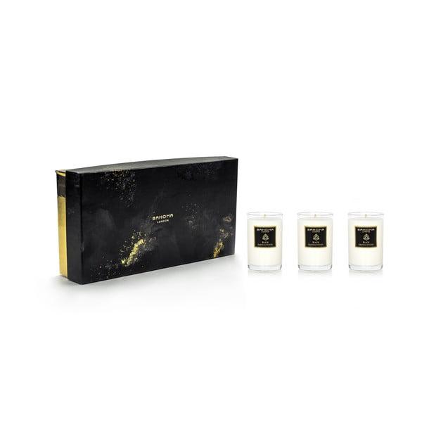 Sada 3 vonných sviečok v darčekovom balení s vôňou narcisu a ľalie Bahoma London Travel Candle