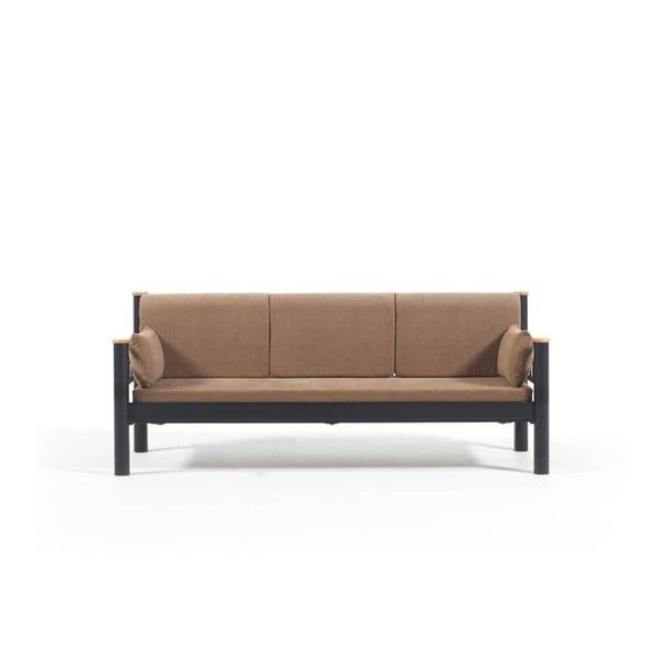 Canapea cu 3 locuri de grădină Kappis, 80 x 210 cm, maro-negru