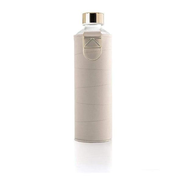 Béžová skleněná láhev z borosilikátového skla s obalem z umělé kůže Equa Mismatch,750ml