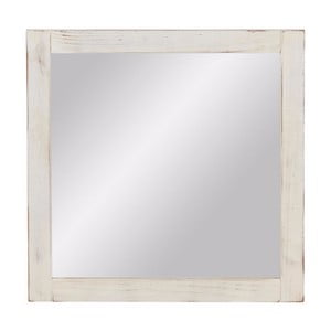Bílé nástěnné zrcadlo  z masivního borovicového dřeva Støraa Santana