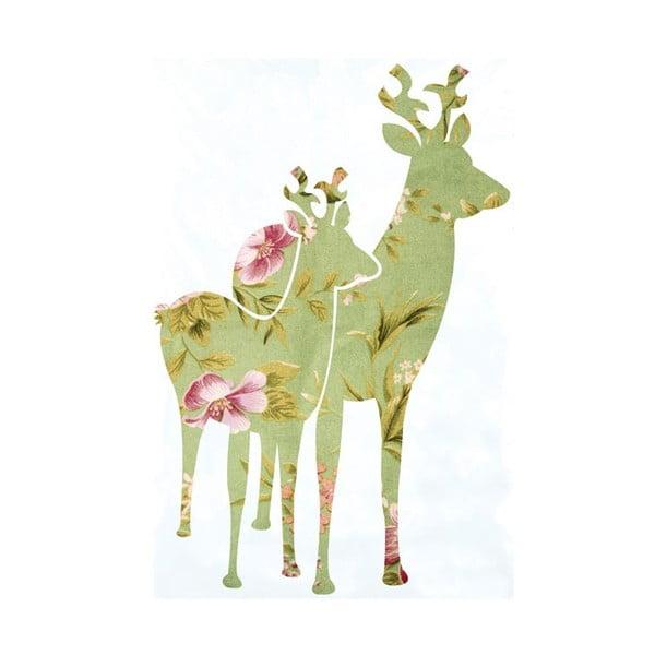 Samolepka na zeď Green Bambi, 20x30 cm
