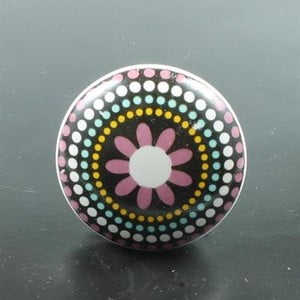 Porcelánová úchytka Pink Flower