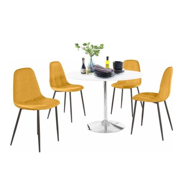 Sada kulatého jídelního stolu a 4 žlutých židlí Støraa Terri