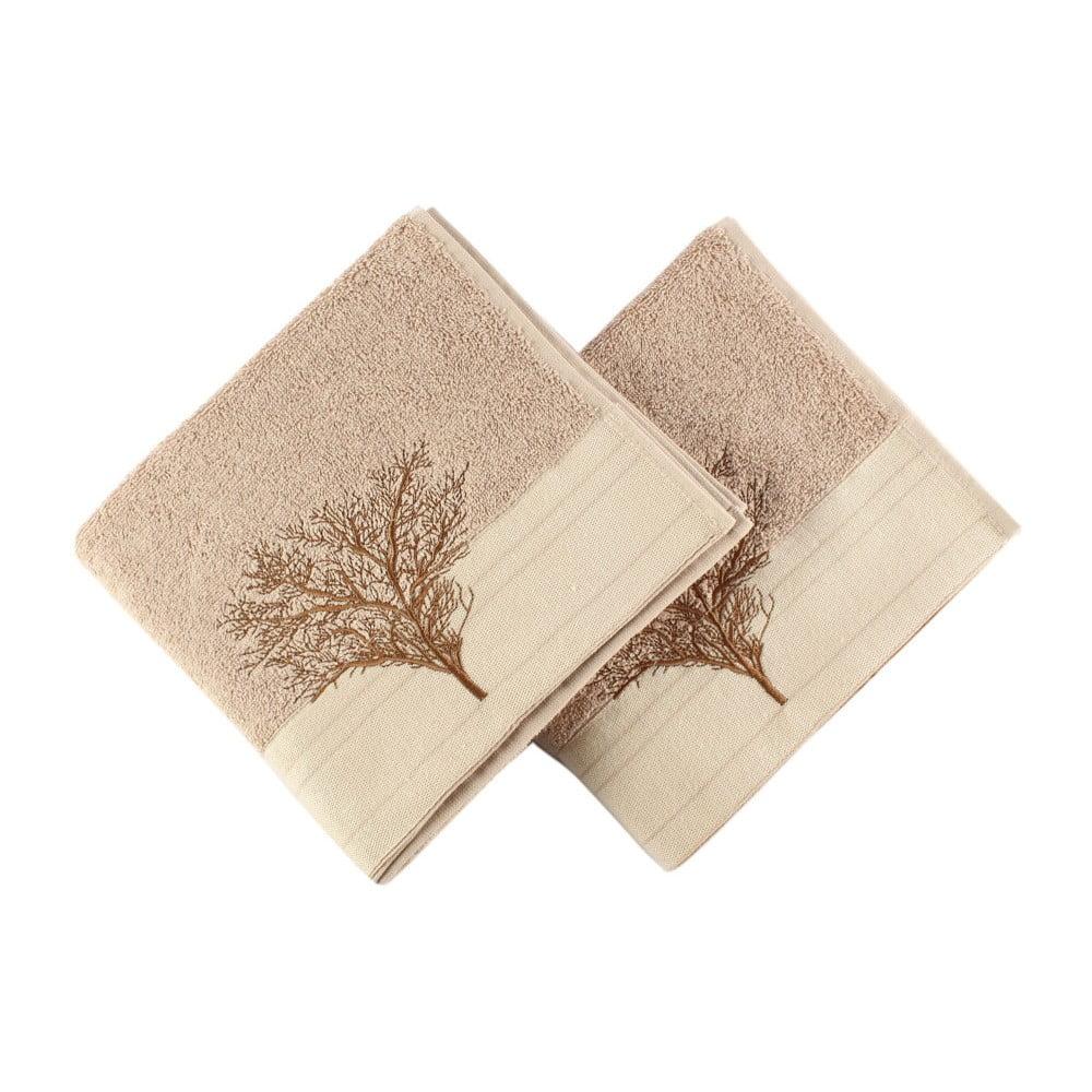 Sada 2 světle hnědých bavlněných ručníků Infinity, 50 x 90 cm