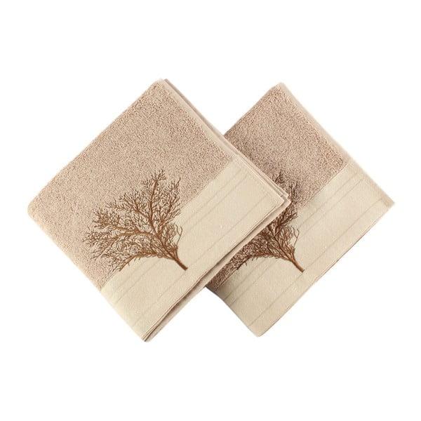 Zestaw 2 jasnobrązowych bawełnianych ręczników Infinity, 50x90 cm