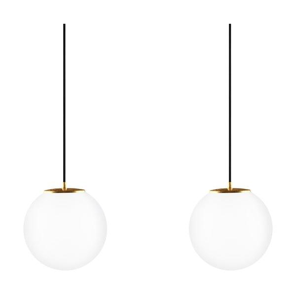 Dvojité světlo Tsuki M Elementary, matná opálová/zlatá/černá/černá