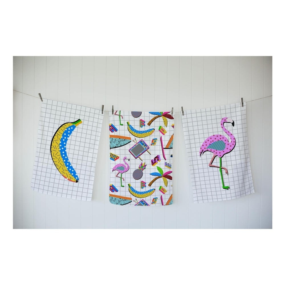 sada 3 ut rek really nice things flamingo pattern bonami. Black Bedroom Furniture Sets. Home Design Ideas