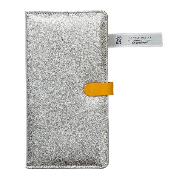 Cestovní peněženka ve stříbrné barvě se žlutými detaily Busy B Flight