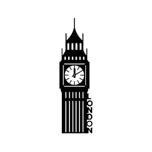 Černá kovová nástěnná dekorace London, 18 x 69 cm