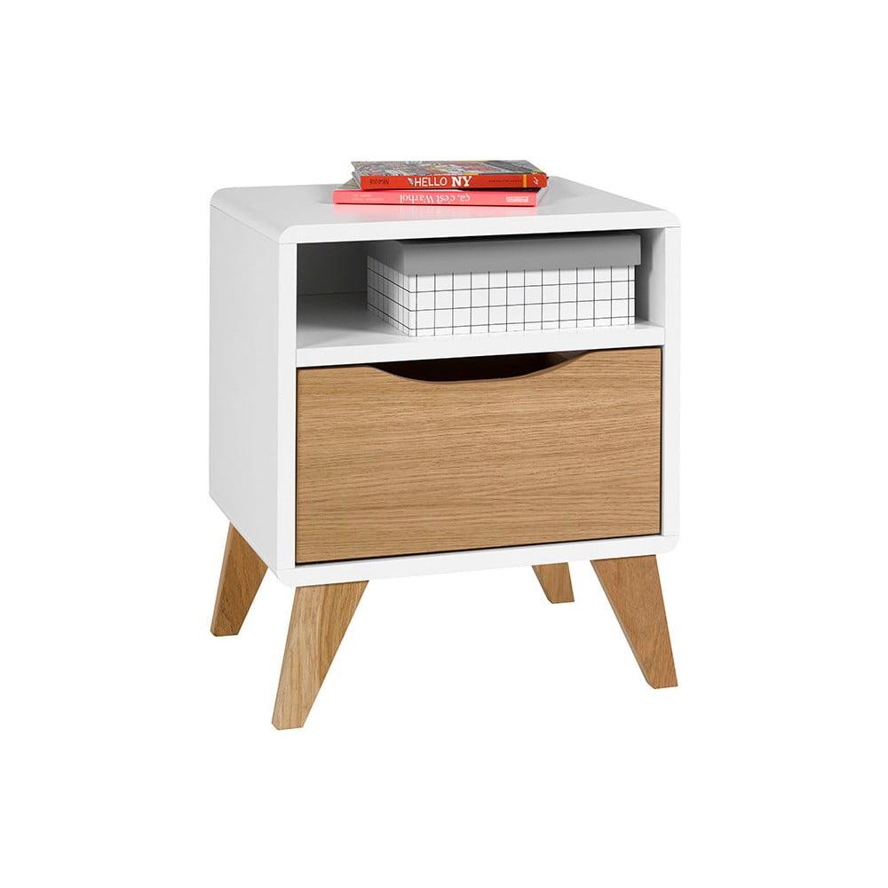 Fotografie Bílo-hnědý noční stolek se zásuvkou JUNIIOR Provence Oskar