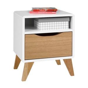 Bílo-hnědý noční stolek se zásuvkou JUNIIOR Provence Oskar