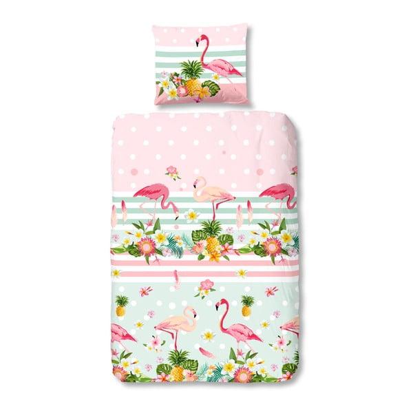 Lenjerie de pat din bumbac pentru copii Good Morning Flamingo, 140 x 200 cm